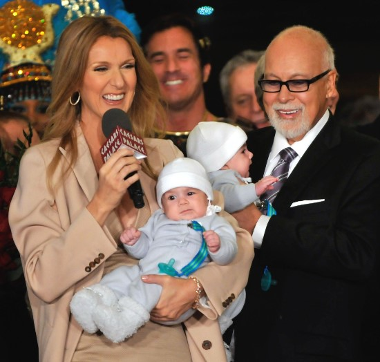 Feb. 16, 2011 - Las Vegas, Nevada, USA - (L-R) Singer CELINE DION, holding her son NELSON ANGELIL, her husband and manager RENE ANGELIL, holding their son EDDY ANGELIL are greeted as they arrive at Caesars Palace February 16, 2011 in Las Vegas, Nevada. Celine Dion will begin rehearsals for her new show set to debut March 15 at The Colosseum at Caesars Palace. (Credit Image: © David Becker), Image: 271369530, License: Rights-managed, Restrictions: Not available for license and invoicing to customers located in Finland., Model Release: no, Credit line: Profimedia, Corbis