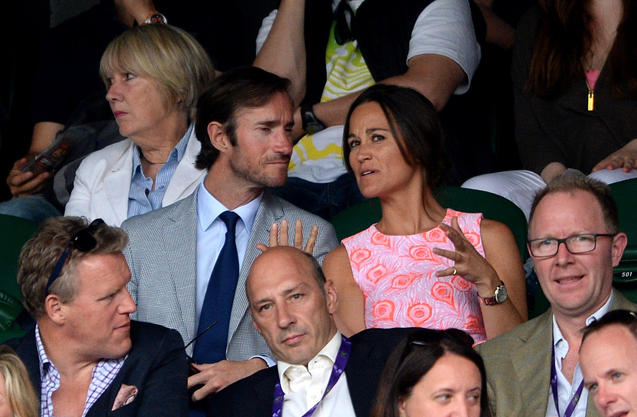 Pippa Middleton and James Matthews on day nine of the Wimbledon Championships at the All England Lawn Tennis and Croquet Club, Wimbledon., Image: 293380641, License: Rights-managed, Restrictions: WCDIRECT. Editorial use only. No commercial use without prior written consent of the AELTC. Still image use only - no moving images to emulate broadcast. No superimposing or removal of sponsor/ad logos. Call +44 (0)1158 447447 for further information., Model Release: no, Credit line: Profimedia, Press Association